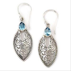 NWOT Samuel B Bali Style blue topaz earrings